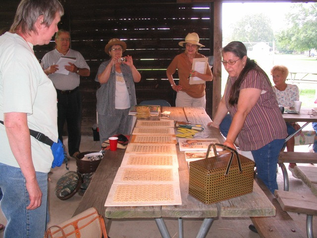 Chair Caning samples at gathering 2009