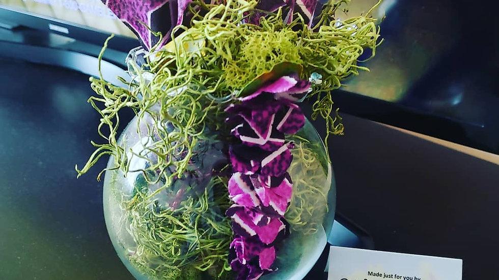 Fabric Flower Arrangement w/ vase