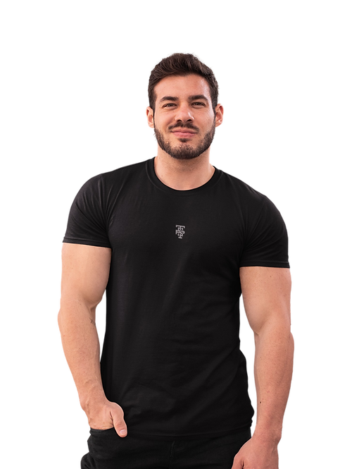 Classic Embroidered Logo Tee in Black