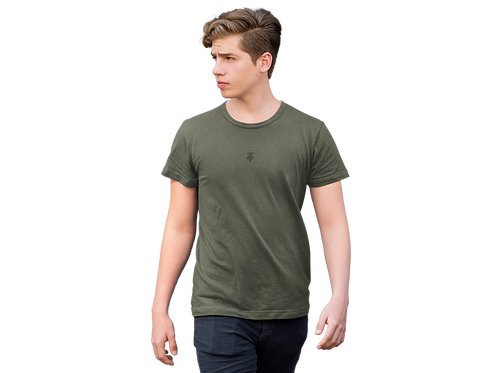 Classic Embroidered Logo Tee in Khaki