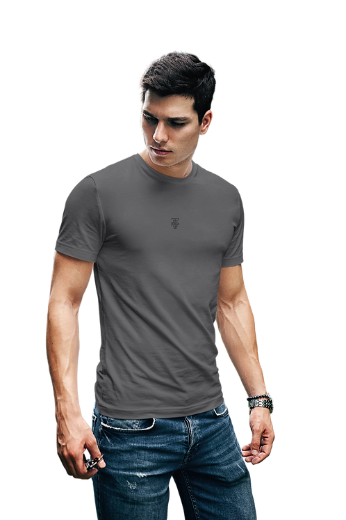 Classic Embroidered Logo Tee in Dark Grey