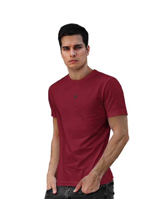 Classic Embroidered Logo Tee in Dark Red
