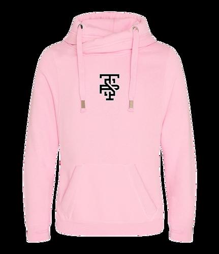 Cross Neck Hoodie in Pink