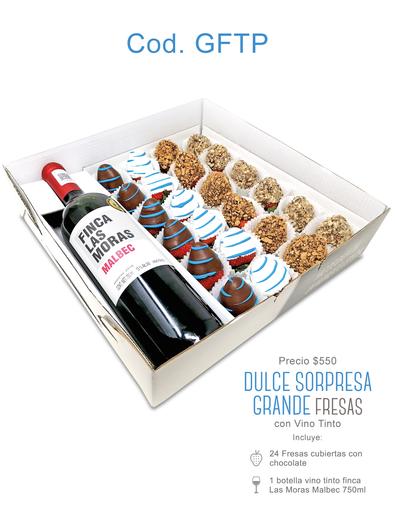 "Dulce Sorpresa Grande ""Fresas Cubiertas"" con Vino Tinto $550"