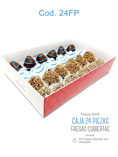 """Caja 24 piezas """"Fresas Cubiertas"""" $330"""