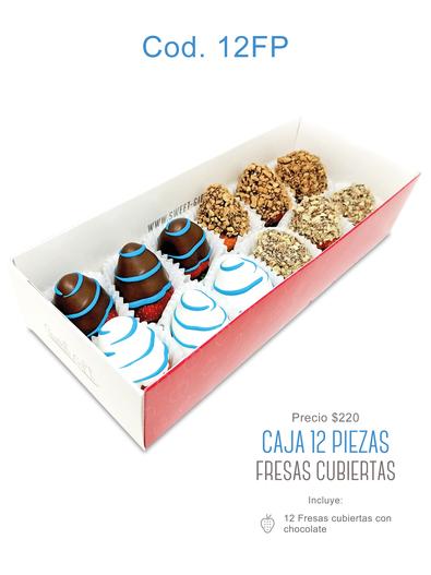 """Caja 12 piezas """"Fresas Cubiertas"""" $220"""