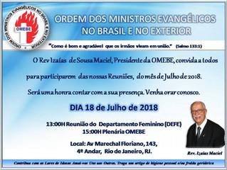 Participe das reuniões de Julho