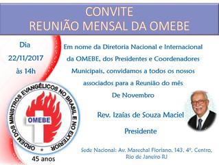 CONVITE PARA REUNIÃO DE NOVEMBRO