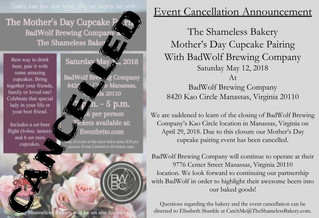 Announcement - Event Cancellation: Mother's Day Cupcake Pairing Event at BadWolf Brewing Company