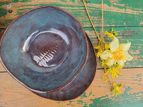 Pressed Fern Brown Stoneware Set