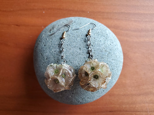 Scabiosa Flower Earrings on Chains