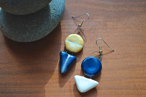 Mismatched Porcelain Geometric Earrings