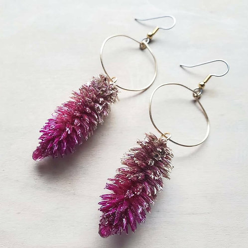 Ruby Parfait Celosia Hoop Earrings