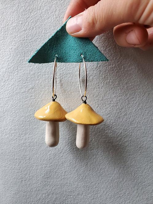 Yellow Amanita Mushroom Earrings