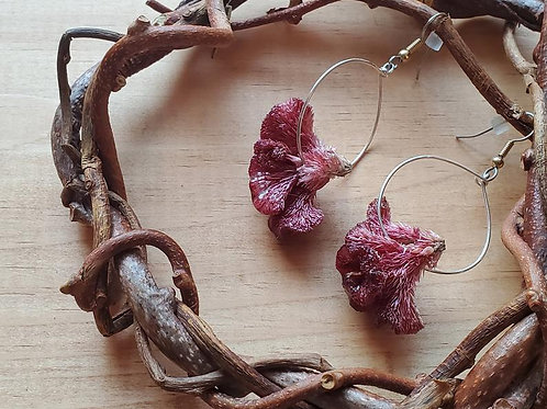 Maroon Celosia Flower Hoop Earrings