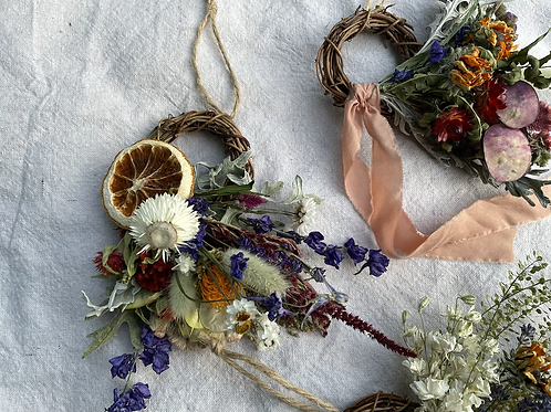 """3"""" Partial Wreaths // Homegrown Dried Flowers"""
