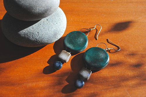 Brown Stoneware Geometric Seafoam Earrings