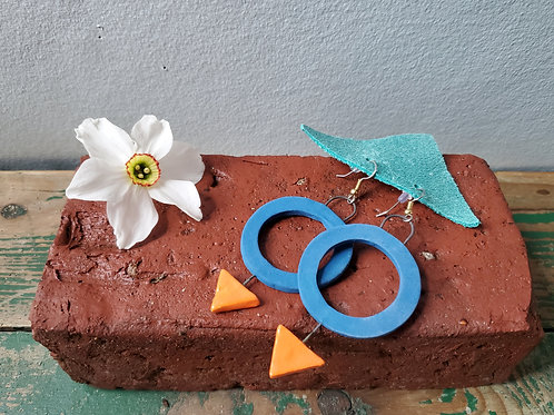 Hoops and Triangle Geometric Earrings