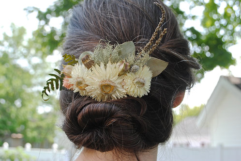 Strawflower Dried Floral Hair Comb