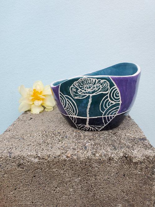 Flower Garden Sgraffito - Food Safe Bowl