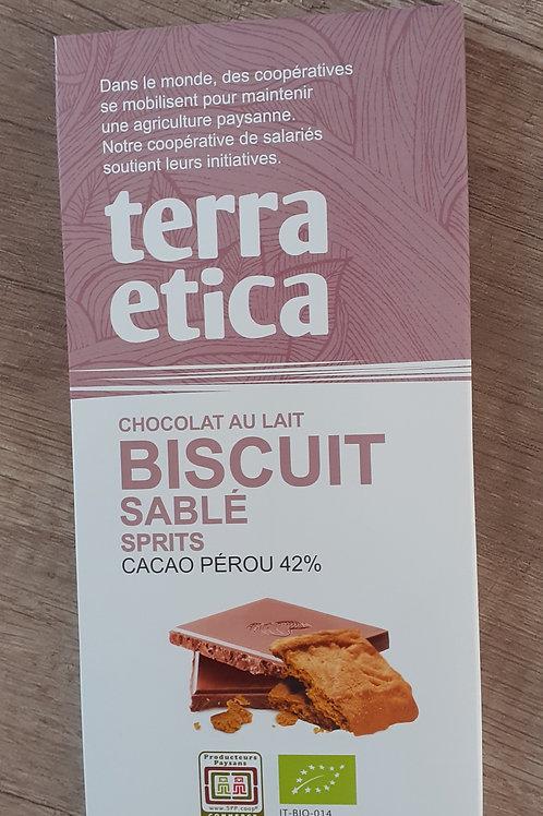 Chocolat lait biscuit sablé Terra Etica