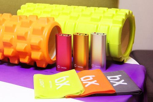 運動包:行動溫灸器+筋膜滾筒+彈力繩