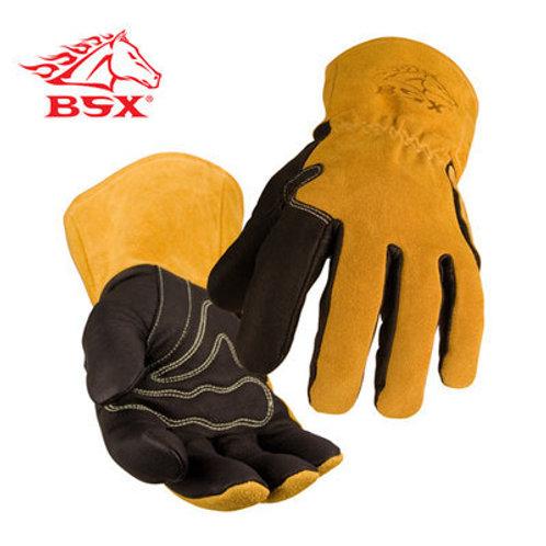 BSX® Premium Grain Pigskin Cowhide Back MIG Welding Gloves
