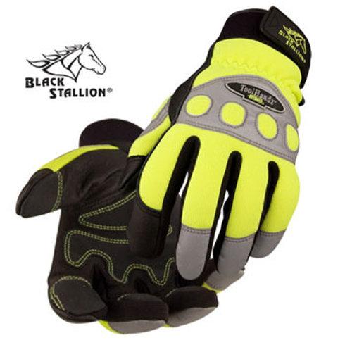 Spandex/Grain Pigskin Reinforced Hi-Vis Mechanic's Gloves