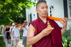Ven. Lama Konchok Sonam leads a Pease Walk