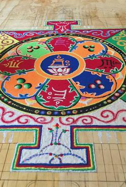 Sand Mandala in process