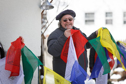 Hanging prayer flags