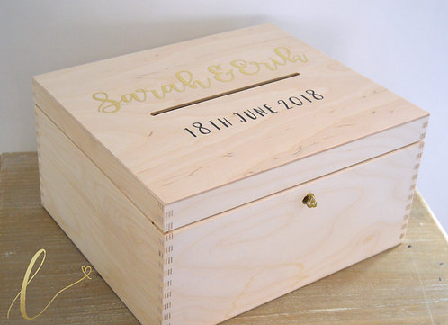 Wooden Lockable Card Box