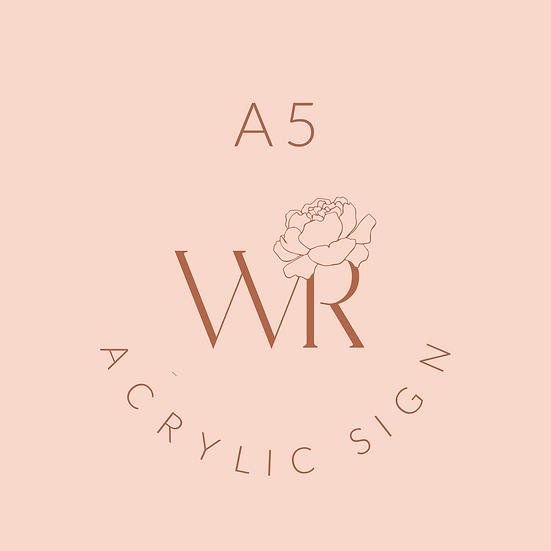 A5 Acrylic Business Sign