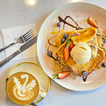 French Toast and a cup of cafe latte