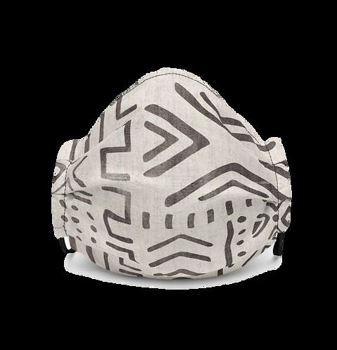 Cream Mudcloth print mask