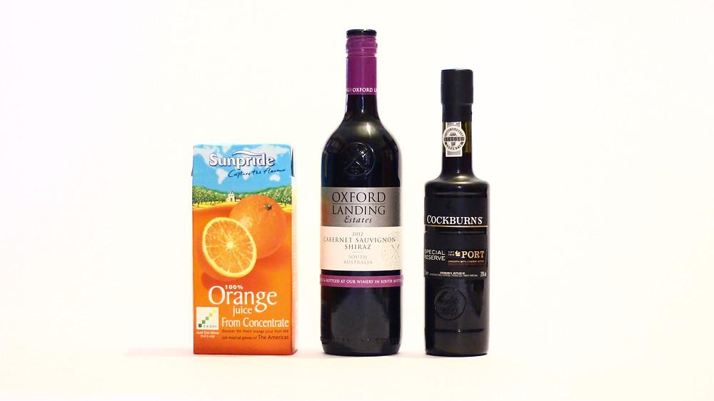 Orange juice, red wine and a splash of port