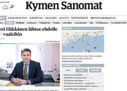 KYMEN SANOMAT: Antti Häkkänen lähtee ehdolle EU-vaaleihin