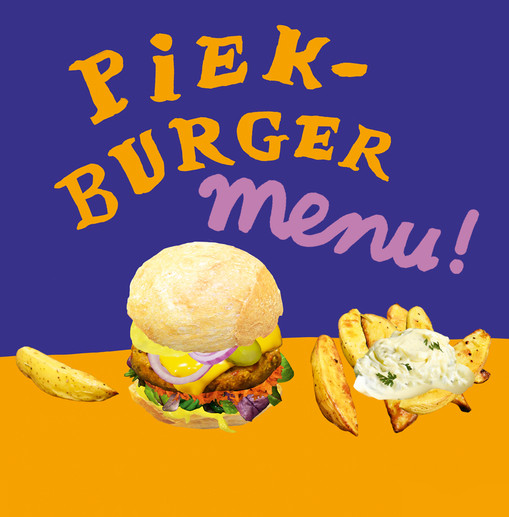 piekburger + bakje petat + huisgemaakte vegan tartaar