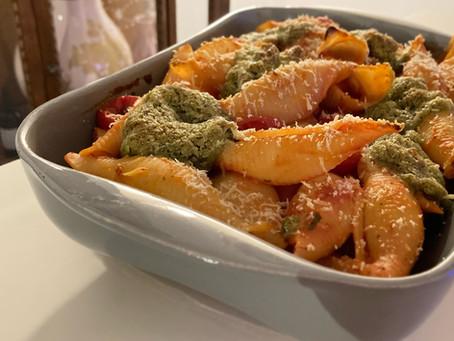 gegratineerde pasta met walnotenpesto