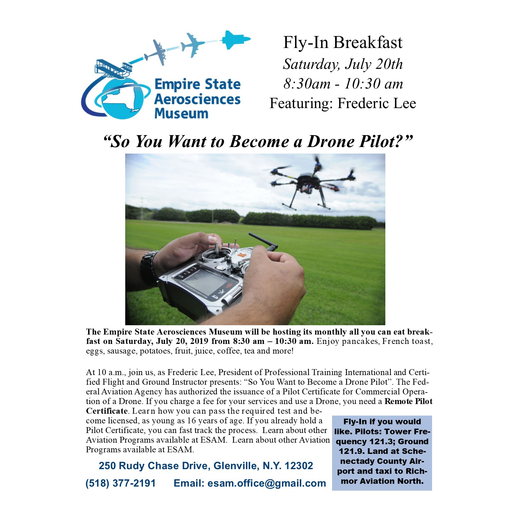 ESAM Fly-in Breakfast - So You Want to Become a Drone Pilot?