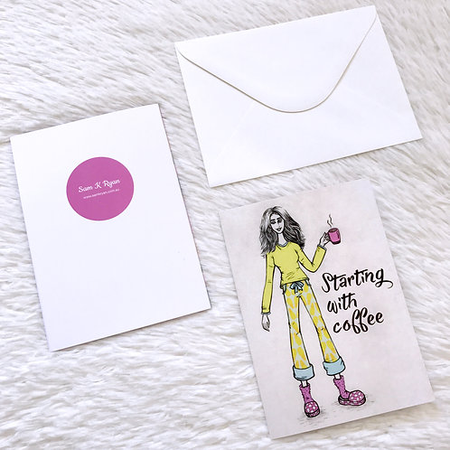 STARTING WITH COFFEE Greeting Card