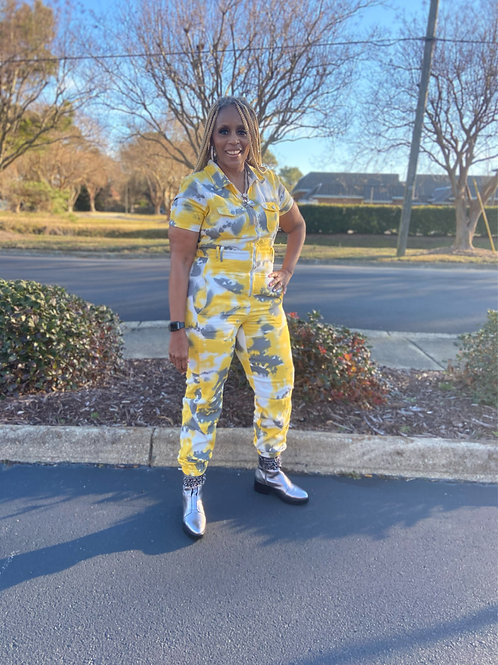 Its A Mood Yellow Tie Die JumpSuit
