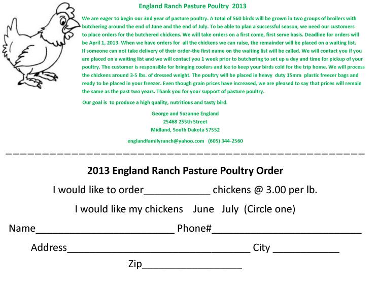 2013 Pasture Poultry Order form