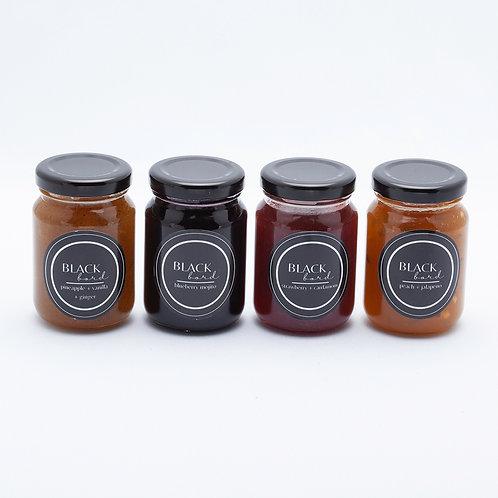 Black bord; jams & jellies
