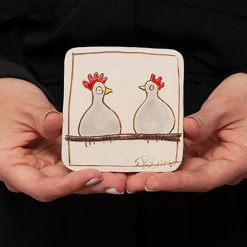 Tile, Two Chickens