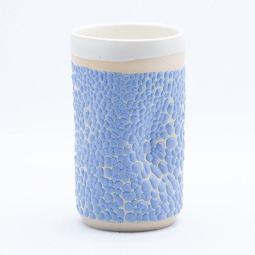 Tumbler, White Stoneware in Blue