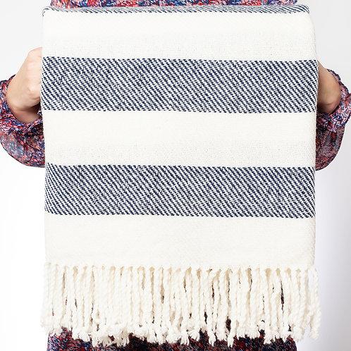 Handwoven Herringbone Throw, navy and white stripe