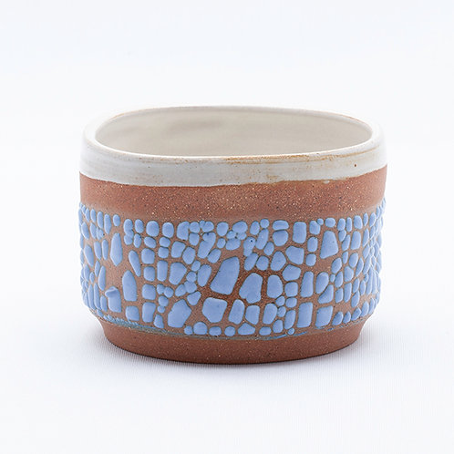 Small Bowl, Red Stoneware in blue