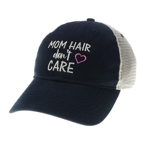 Mom Hair Don't Care Trucker (Navy or Aqua Blue)
