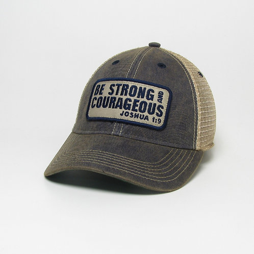 Be Strong & Courageous Trucker (Black or Blue)